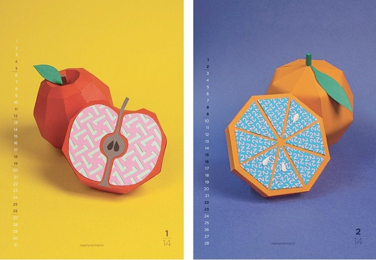 calendario di carta 3D food design