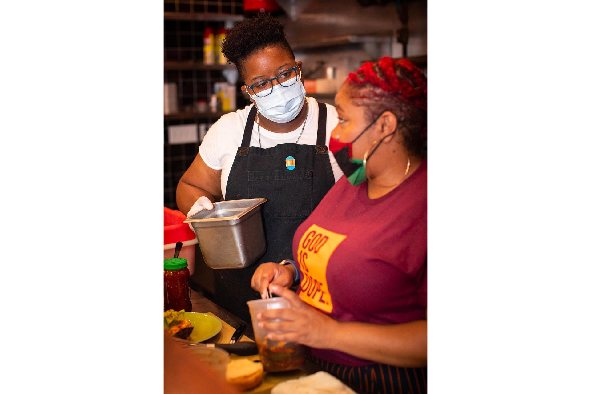 Mavis Jay Sanders and Sicily Johnson of Food Plus People