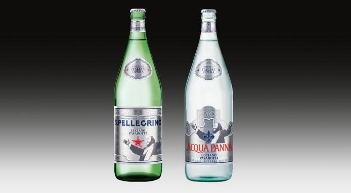 Bottiglie-s.pellegrino-acqua-panna-luciano-pavarotti